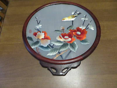 Vintage Hand Painted & Signed Chinese Floral Landscape with Bird on Silk
