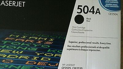 Genuine HP 504A CE250A Black Toner Cartridge Brand New Unopened Box