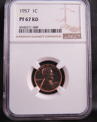 1957 1C Lincoln Wheat Penny Cent NGC PF67RD PROOF 67 RED LOT 089