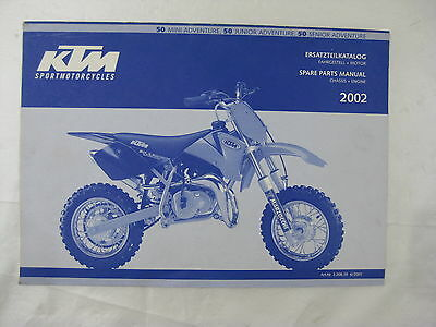 Ktm 2002 50 Mini Junior & Senior Adventure Spare Parts Manual Engine & Chassis