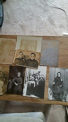 Eight Antique Real Photo Postcards