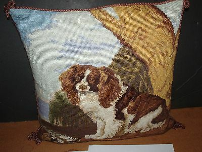 Katha Diddel CAVALIER KING CHARLES SPANIEL DOG NEEDLEPOINT THROW  PILLOW 15 1/2""