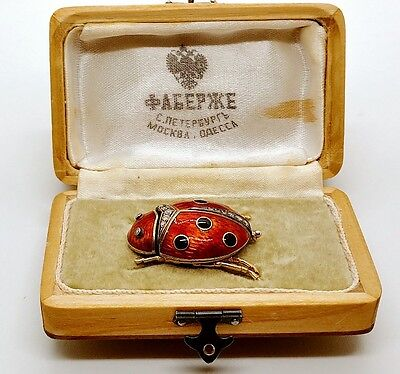 Faberge ladybug brooch. Gold and diamond
