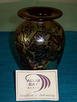 Beautiful-Hand Made '.Alum Bay Glass' Vase in 'Coral Gold 'Colour-Collectable