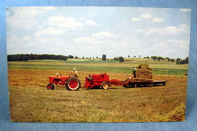 Farmall IH International Harvester Tractor Hay Making Iowa Postcard 1950