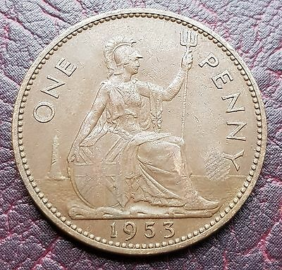 (J33) Uk British Qeii 1953 One Penny Coin