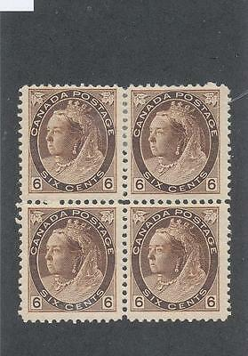 """Canada Unc# 80 Mint Block Of 4 - """" Qv Numeral"""" - (Bw49)"""