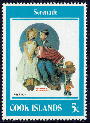 COOK ISLANDS c1990, Fine set of 4 mint, charming Normal Rockwell paintings, 4208