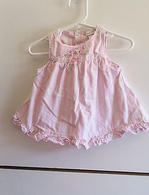 Baby Girl Dress Just One Year Pink & White 3 Months Sleeveless