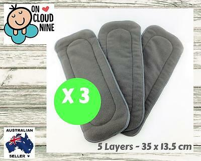 5-Layer Inserts Reusable Bamboo Charcoal Liners for Baby Modern Cloth Nappy 3 X