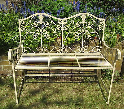 Country Cottage Vintage Cream Victorian Style Folding Garden Seat Outdoor Bench