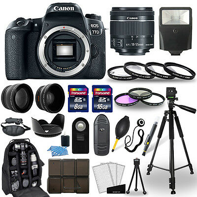 Canon EOS 77D Digital SLR Camera + 18-55mm STM Lens + 30 Piece Accessory Bundle