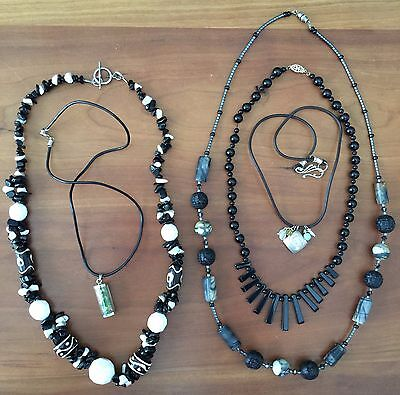 LOT of 5 Stone Bead, Glass, and Black & White Necklaces