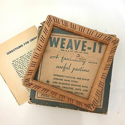 "Vintage Weave-it 4"" Wood Hand Loom Original Box Instructions Donar Weaving F4"