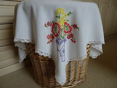Vintage Hand-embroidered Tablecloth with Baskets of Flowers