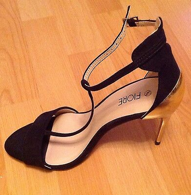"""Brand New Black & Gold Ankle Strap Stiletto Evening Shoes. UK 5 - 6 Heel 4"""""""