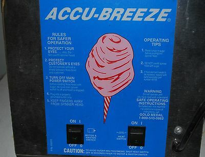 Accu Breeze Commercial Cotton Candy Machine Pre-Owned. Works well.