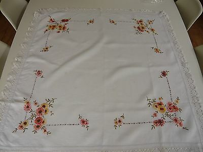 Small Vintage White Linen Lace Edged Embroidered Tablecloth