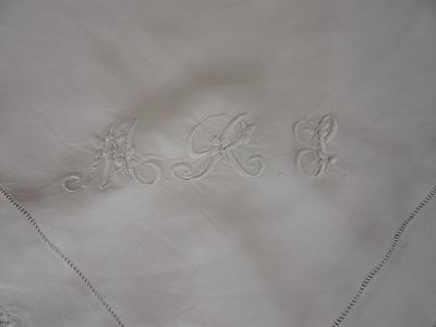 3 x Antique White Lace-Edged Embroidered Tablecloths