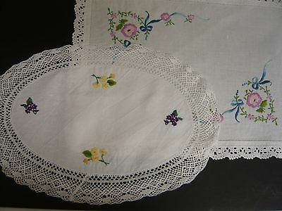 2 Vintage Lace-Edged Embroidered Linen Tray Cloths