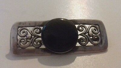 Black-Onyx-Stone-with-Filigree-Design-Sterling-Silver-925-Pin-Brooch