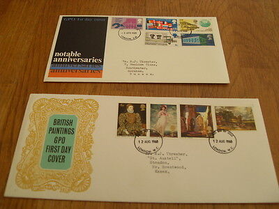 England  F-D Covers-Notable Anniversaries 1969 / British Paintings 1968