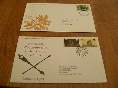 England  F-D Covers-British Trees The Oak 1973 / Parliamentary Con 1973
