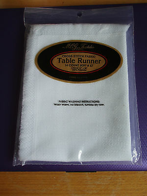 cross stitch fabric sealed in pack, runner, for table, 14 count white, 13 x 38""