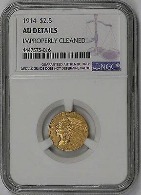 1914 Indian Head Gold Quarter Eagle $2.5 AU Details NGC