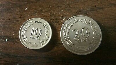 Singapore Two Coins, 10 Cent, 20 Cent.  1967 & 1969.  Free shipping.