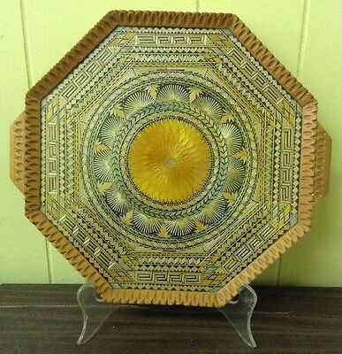 Amazing Unique Vtg Octagon Hand Crafted Wood Glass & Straw Art Tray Intricate