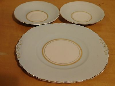 One Colclough China 9in Plate & Two 5.5in Tea Cup Saucers