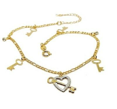 New 9CT Gold Filled Two Tone Heart Charms Figaro Link  Anklet  B40