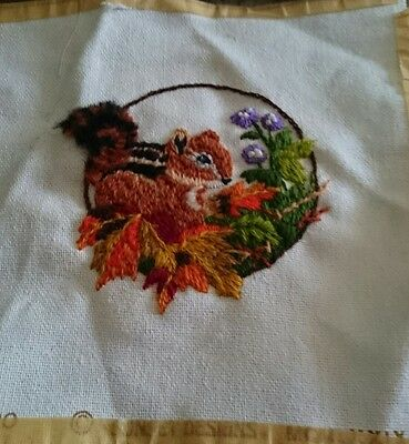 Jiffy Stitchery Baby Meadow Chipmunk #520 Finished Cross Stitch