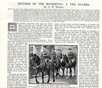 "Ww1 Article Print  "" The Guards - Record Of The Regiments """