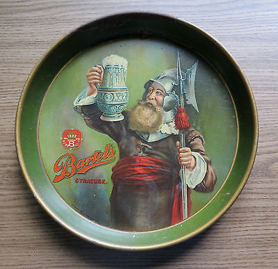 """OLD BARTLES BEER TRAY """" Night Watchman """" SYRACUSE NY Pre Prohibition"""