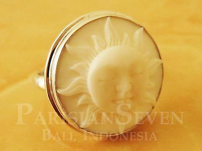 Beautiful Sun Face Carving Bali Sterling Silver 925 Ring Size 6 7 8 9 10 M229