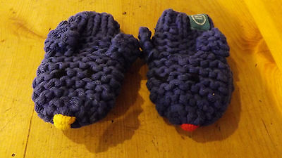 Baby Joules 'dog' mittens Blue knitted cotton. New without tags.