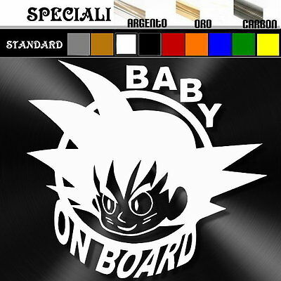 adesivo sticker BABY goku ON BOARD bimbo bebè a bordo decal personalizzabile