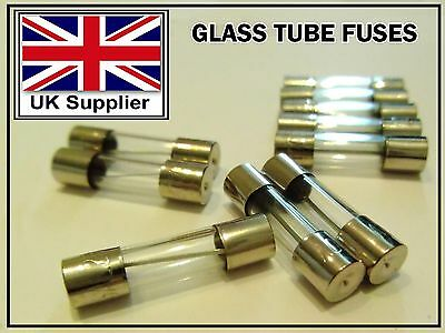FUSES 6x30mm Quick Fast Blow Glass Tube Fuse in 1/2/5/10/15/20/25 Amp (250 Volt)