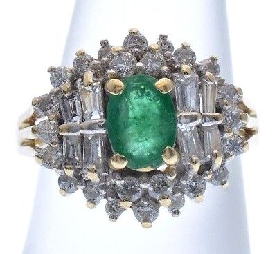 14K Vintage Yellow Gold Natural Oval 1ct EMERALD 2tcw Cluster Diamond Ring sz6