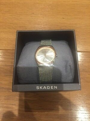 Skagen Ladies Watch Rose Gold And Silver Stainless Steel Mesh Strap