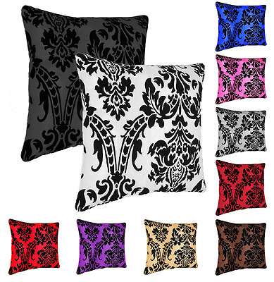 "Luxury Cushion Covers Flock Damask or Filled 18""x18""Square Home Sofa Bed Decor"