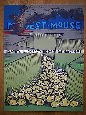 Modest Mouse Sasquatch music fest 2008 poster by Jay Ryan. S&N. RARE & MINT!
