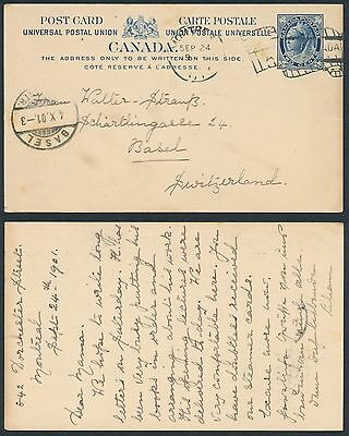 1901 #P21 2c Victoria Leaf UPU Post Card, Montreal to Switzerland