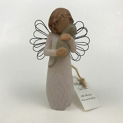 Willow Tree Angel With Affection Wavy Brown Hair Girl Holding A Grey Cat