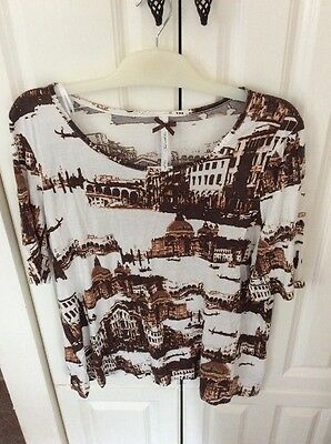 Size 20 Next Brown And White Top