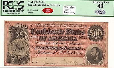 T-64 PF-3 $500 1864 Confederate Paper Money - PCGS Ext Fine 40 - RED - PLUS!!