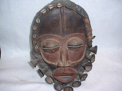 Great Example Of A Dan Tribal  Mask Wood, Leather Cowrie Shells Free Shipping!