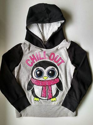 Justice Girls Size 6 Long Sleeve Black Pink Penquin Chill Out Hooded Sweatshirt.